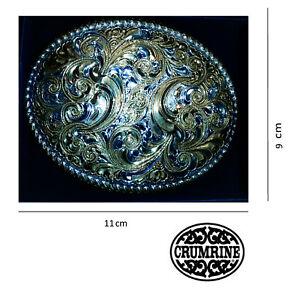 Fibbia cintura western country cowboy gold flower ovale Sterlig Silver Crumrine