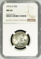 :1916-D 25C Key-Date Barber-Quarter-Dollar NGC Select-MS-64 Low-Pop High-Grade