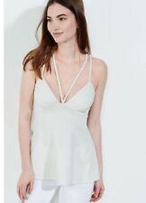 EXPRESS Small IVORY STRAPPY EMPIRE WAIST CAMI halter top v-neck shirt sleeveless