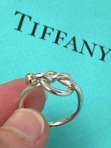 Tiffany & Co Sterling Silver 18 Carat Gold Love Knot Ring Size L1/2 UK 5.5 US
