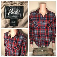 Roots Canada Robson Flannel Plaid Shirt Size XL wool buffalo check lumberjack