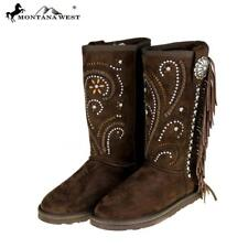Coffee Color Montana West Faux Suede Womens Boots Size 7