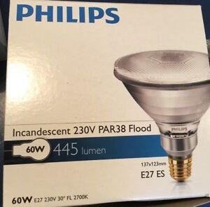 PHILIPS PAR38  E27 Strahler Pressglaslampe Lampe 60W 80W 120W 150W  FLOOD SPOT