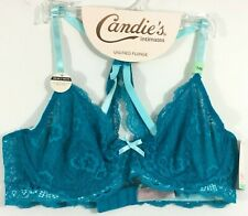 Candies Intimates Plunge Bra Aqua Blue Lace Unlined Wired Conv Back Size 34B NWT