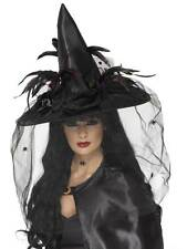 Deluxe Witch Hat Feathers & Netting Halloween Fancy Dress Accessories Black