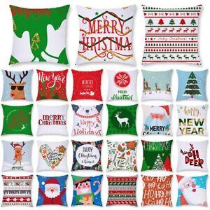 Cartoon Santa Claus Elk Christmas Pillow Case Waist Cushion Cover Home Decor