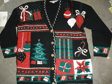Ugly sweater Nutcracker women's large black, Christmas trees, gifts,