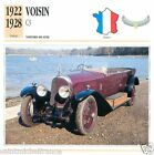 VOISIN C3 1922 1928 CAR VOITURE FRANCE CARTE CARD FICHE