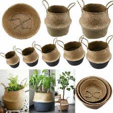 Foldable Seagrass Woven Storage Flower Vase Hanging Basket Garden toy Plant Bag