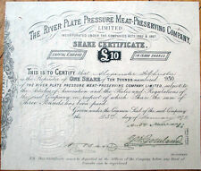 1872 Stock Certificate: 'River Plate Pressure Meat-Preserving Co.' - UK/England