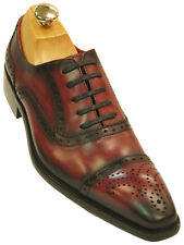 Fiesso Mens Red Black Gradient Leather Wing Tip Old School Oxford Fashion Shoe