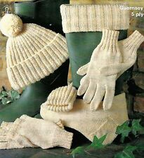 #283 MENS WELLIE SOCKS, GLOVES, MITTENS & HAT VINTAGE KNITTING PATTERN