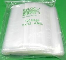 """100 Ziplock Bags 9"""" x 12"""" Heavy Duty 4mil 9 x 12 Large Thick Clear Reclosable"""