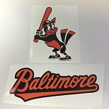 Set of 2 Baltimore Orioles MLB Vinyl Bumper Sticker Decal Cornhole Wall Car