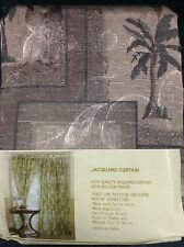 Brown One Pair(2) Panels Palm Tree Window Curtain Drapes, Valence Sheer 118'X84'