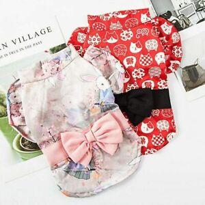 Pet Dog Dress Shirt Japanese Kimono Bow  Shirt Princess Skirt Puppy Cat Costumes
