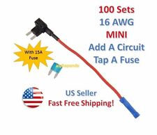 100x 16 AWG Gauge Car Auto Truck Add-A-Circuit MINI Fuse Tap Holder +15 Amp NEW