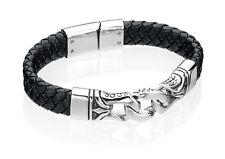 Fred Bennett Noir Bracelet Cuir Avec Inoxydable Maillons En Acier 23cm