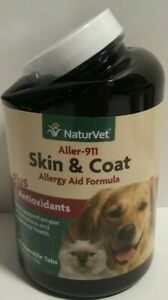 NaturVet ALLER-911 Dog and Cat Skin And Coat Tab Allergy Aid Chewable Exp 8/23