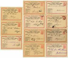 FINLAND 1885-88 USED POSTAL STATIONERY 11 CARDS.PRINTINGS Postmarks railway etc.
