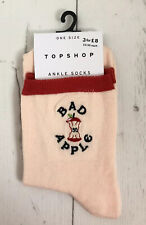 Ladies/Girls Cream And Red With Bad Apple Apple Cores Cotton Ankle Socks