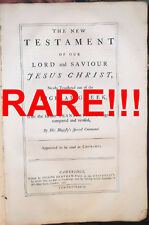 "1762 ANTIQUE TALL 16"" FOLIO 1ST-ED CAMBRIDGE STANDARD KING JAMES BIBLE 1611-1769"