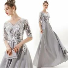 Silver Grey V Neck Glitter Sequins Short Sleeve Empire Waist Party Evening Dress