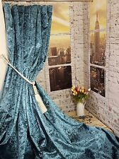 """NEW! Huge Heavy Weight Teal Blue Crushed Velvet 113""""D 54""""W Lined Bay Curtains"""