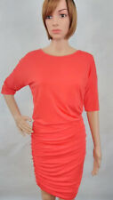 Athleta Women's Sz XS Coral Orange Soltice Short Sleeve Tee Jersey Ruched Dress
