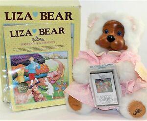 "Robert Raikes Liza 12"" Plush Teddy Bear Girl Artist Signed Wood Face Box Tag COA"