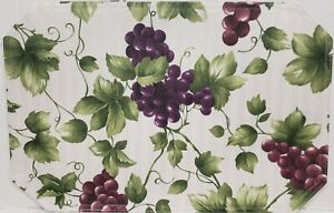 """SET OF 4 SAME FABRIC PLACEMATS 12"""" x 18"""", GRAPES # 20, horizontal lines by BH"""