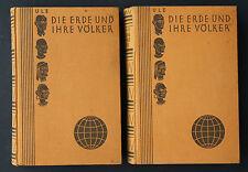 DR WILLI ULE,DIE ERDE UND IHRE VÖLKER,ILLUSTRIERT,2 BÄNDE,1928