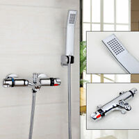 Chrome Bathroom Thermostatic Shower Head Faucet Set Mixer With Handheld Rain Tap