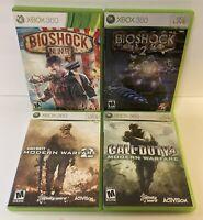 Xbox 360 4 Game Lot - Bioshock 2 & Infinite - Call of Duty Modern Warfare 2 & 4
