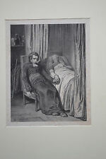 Lithografie, Jocelyn, Gavarni, 19. Jhdrt.,Priester am Totenbett