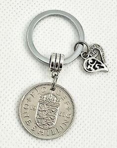 Birthday Gift One Shilling Coin Keyring For Men Women British Keychain 1953-1966