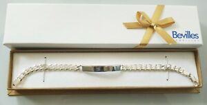 BEVILLES Solid Sterling Silver Curb Link ID 21cm Bracelet - 17 Grams