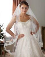 NWT Edward Berger 9744 lace edged single layer light ivory wedding bridal veil