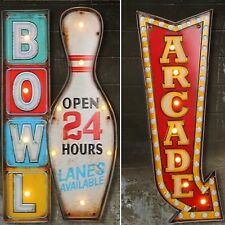 GAME ROOM SET LED Metal Signs Vintage Look. ARCADE ROOM, MAN CAVE. 2 SIGNS!!
