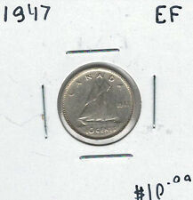 Canada 1947 Silver 10 Cents EF
