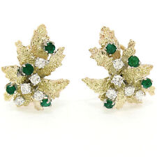 VINTAGE 14k ORO AMARILLO 1.60ctw Diamante & Emerald CON TEXTURA Hoja Omega