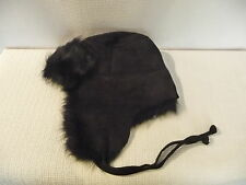NEW J.CREW TOSCANA SHEARLING TRAPPER HAT, 34414, BLACK,  M/L $198