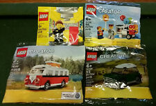 Lego Poly Bag Lot 40079 VW T1 40109 Mini Cooper 40108 Balloon Stand 5001622 Empl