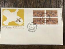 Canada Post Fdc 1980 Prairie Chicken 17C Stamp #854 Endangered Wildlife Plate Bl