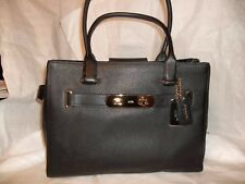 COACH SWAGGER 36488 CARRYALL LEATHER PURSE/BAG BLACK GOLD ACCENTS  NWT $ 395.00