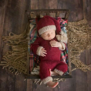 Baby Photography Costume Outfit Christmas Theme Newborn Infant Romper + Hat