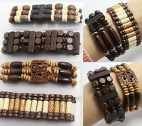 12pcs Vintage Wooden Beads Elastic Bracelets Wholesale Fashion Jewelry Lots Gift