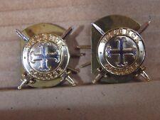 2x Welbeck College The Defense college collar badges