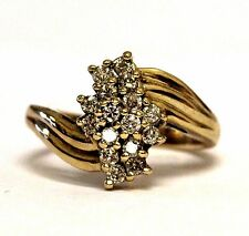 10k yellow gold .48ct SI2 J-K round diamond cluster ring 4.3g ladies estate