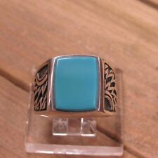 Vintage Sterling Silver Turquoise Men's Ring Size 12
